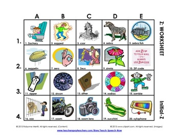 S and Z Vocabulary Grids: Initial