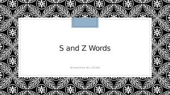 S and Z Words PowerPoint with Audio Models