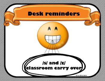 S and Z carry over desk reminders/ cue cards
