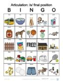 S final position Articulation Bingo with SymbolStix