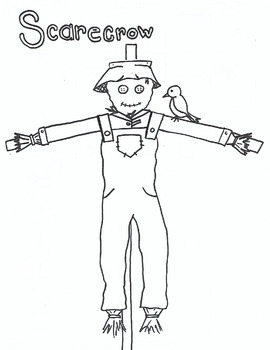 S for Scarecrow coloring page