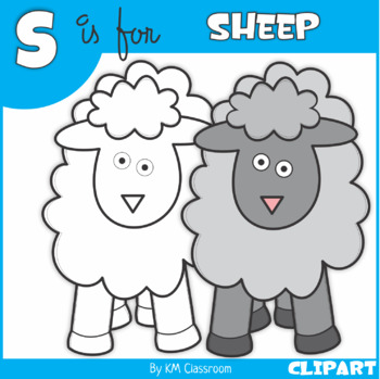 S is for Sheep Clip Art