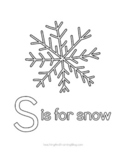 S is for snow FREE coloring page