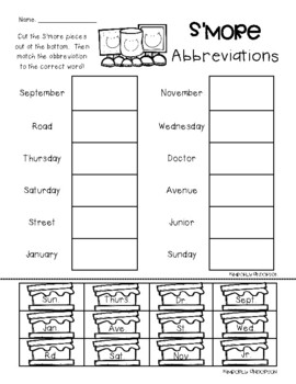 S'more Abbreviations Practice Worksheets