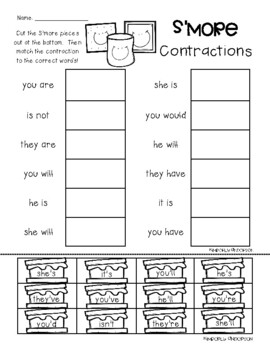 S'more Contractions Practice Worksheets