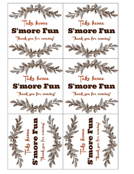 S'more Fun Treat Bag Labels