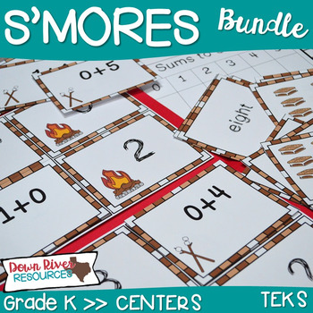 S'more Math Centers Bundle- 5 Centers for Kindergarten & F