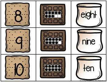 S'more Number, Ten Frame & Number Word Match