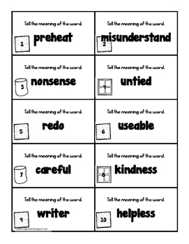 S'more Prefixes and Suffixes- Prefix and Suffix Identification and Meaning Game