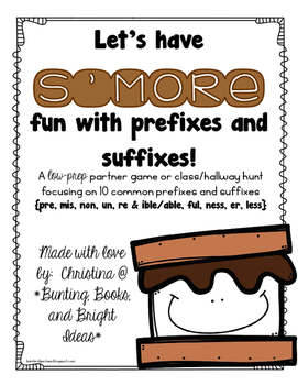 S'more Prefixes and Suffixes- Prefix and Suffix Identifica