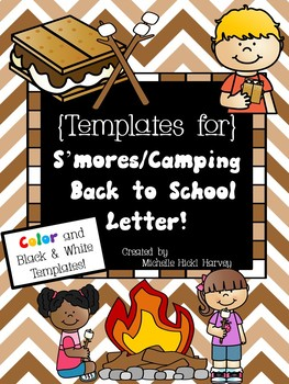 S'mores Camping Themed Back to School Letter Templates