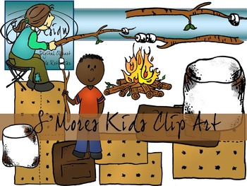 S'mores Clip Art - Color and Line Art