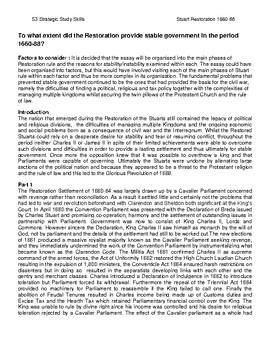 S3 Stuart Restoration Stable Government Sample Essay