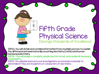 S5P2a. b. c. 5th Grade Georgia Physical Science Powerpoint with Guided Notes