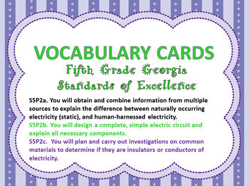 S5P2a. b. c. 5th Grade Georgia Physical Science Vocabulary Word Wall Cards
