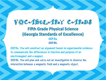 S5P3a. b. 5th Grade Georgia Physical Science Vocabulary Word Wall Cards