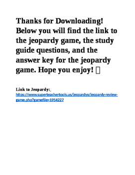 S8P1 8th Grade Matter Jeopardy and Study Guide with Answer Key