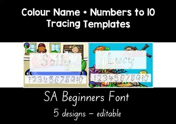 SA BEGINNERS FONT colour name + numbers to 10 tracing templates EDITABLE
