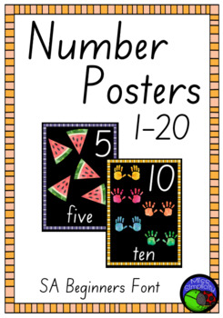 SA BEGINNERS FONT watercolour NUMBER POSTERS ~ 1 to 20