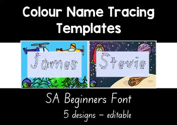SA BEGINNERS  colour name tracing templates EDITABLE 5 designs