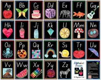 SA BEGINNERS watercolor alphabet posters  ~ print, laminate and display!