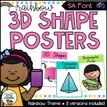 SA Font 3D Shape Posters {Rainbow Theme}