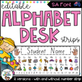 SA Font Alphabet Desk Strips with Number Line {Student Name Tags}