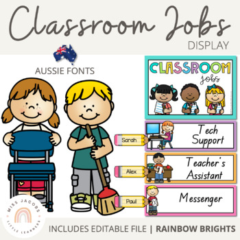 SA Font Classroom Jobs {Rainbow Classroom Decor}