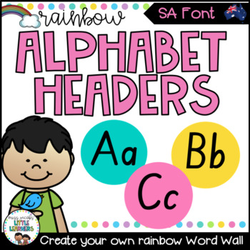 SA Font Word Wall Alphabet Headers {Rainbow Theme}