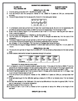 Worksheets Maths Grade 1 Test Paper sa ii test papers for maths by tabrez alam teachers pay grade 6 8 based on cbse curriculum