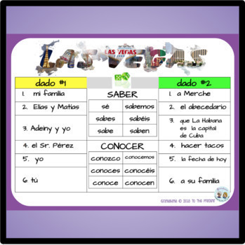 SABER y CONOCER Take LAS VEGAS * A Speaking & Writing Fluency Practice Activity