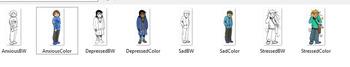 SAD Emotions CommUNITY Clip-Art Bundle-8 Pieces BW/Color