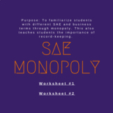 SAE Monopoly Worksheets
