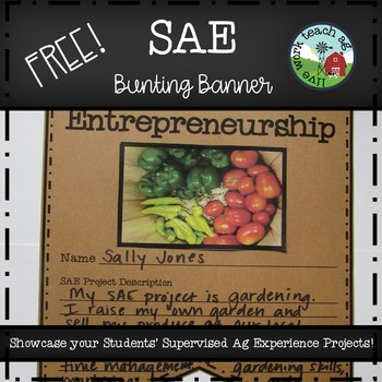 SAE (Supervised Ag Experience) Bunting Banner  Template