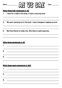 SAE vs AE worksheet - code-switching