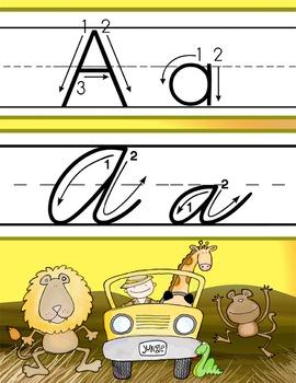 safari alphabet handwriting cards abc print zwriting arrow