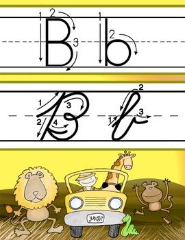 SAFARI - Alphabet, Handwriting Cards, ABC print  - ZWriting Arrow Guided NL