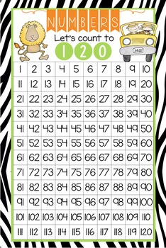 SAFARI - Classroom Decor: Counting to 120 Poster - size 24 x 36