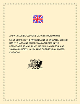 SAINT GEORGE'S DAY -APRIL 23RD- UK-CRYPTOGRAM