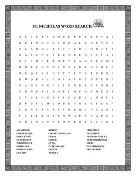 SAINT NICHOLAS WORD SEARCH