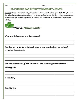 SAINT PATRICK'S DAY HISTORY/VOCABULARY ACTIVITY