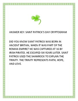 SAINT PATRICK'S DAY HOLIDAY CRYPTOGRAM: A FUN CHALLENGE