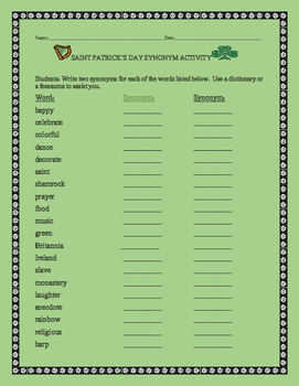 SAINT PATRICK'S DAY SYNONYM ACTIVITY