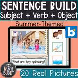 Summer Subject + Verb + Object Sentence Building BOOM Card