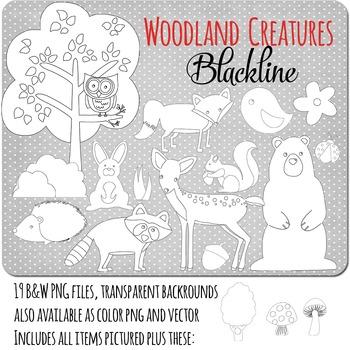 SALE- Black Line Clip art Forest Animals Commercial Use OK