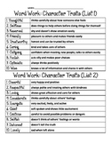 SALE! Character Traits Vocabulary Packet! (14 pages!)