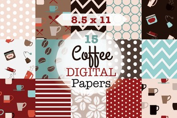 SALE- Coffee Patterns for Commercial Use, coffee digital paper