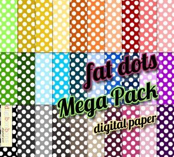 SALE- Fat Polka Dots Digital Backgrounds