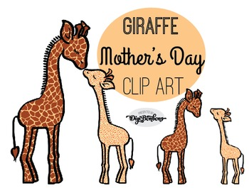SALE- Mother Giraffe and Baby Giraffe Clipart, Commercial Use