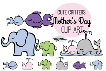 SALE- Mother and Baby Animals Clipart, Commercial Use